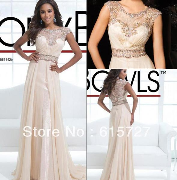 24fbab2269 Buy Cream Color Sleeve Nude Evening Dress from Custom Formal Dresses ...