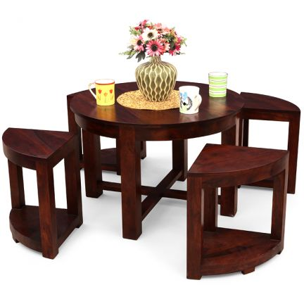 Elmwood Arboga Coffee Table With Four Stools (0005)