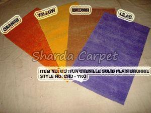Cotton Chenille Solid Plain Dhurries