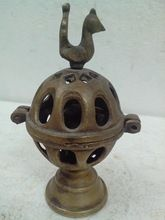 Brass Oil Lamp Peacock Figure Collectibles