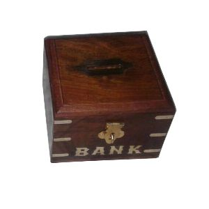 Rustic Wood Money Bank