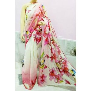 Digital Print Linen Sarees