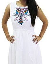 Embroidered A-line Womens Dress