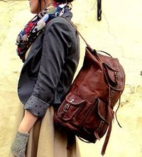 Leather Retro Backpack College Bag