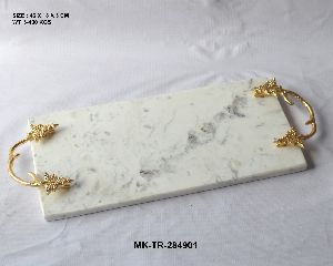 Marble Tray With Brass Handles