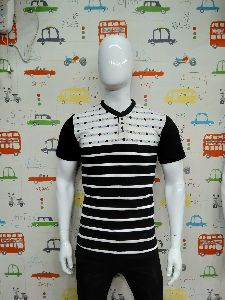 Mens Striped Henley Neck T-shirts