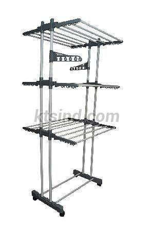 Double Pole 3 Tier Powder Coated Cloth Drying Stand (Grey)