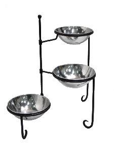 Iron Stand With Aluminium Bowls