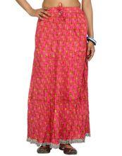 Crinkled Maxi Length High Waisted Cotton Cambric Skirt