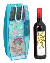 Handmade Paper Patch Work Travel Wine Bottle Bag Case Holder