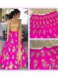 Pink Designer Taffeta Silk Lehega Choli