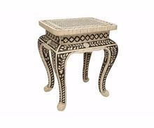 Black Color Bed Side Bone Inlay Small Table
