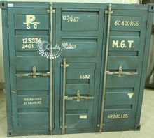 Metallic Industrial Blue Color Container Style Cabinet