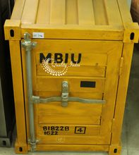 Metallic industrial container style cabinet furniture