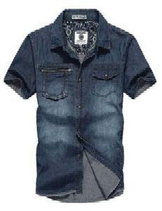 Casual Denim Short Sleeve Shirt