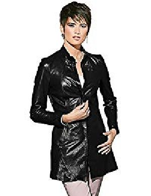 Womens Lambskin Black Leather Coat 01