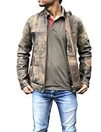 Mens Vintage Distressed Brown Leather Jacket
