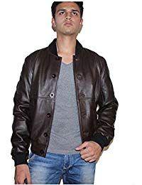 Mens Sword Brown Lambskin Leather Biker Jacket