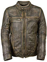 Mens Vintage Distressed Black Leather Jacket