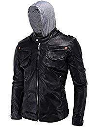 Mens Lambskin Leather Removable Hoodie Biker Jacket