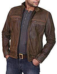 Mens Lambskin Military Brown Leather Biker Jacket