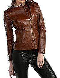 Womens Lambskin Brown Leather Biker Jacket