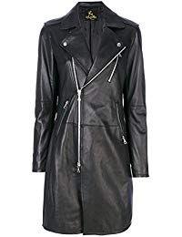Womens Lambskin Black Leather Long Jacket