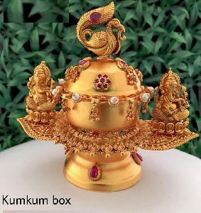 Gold Plated Kumkum Box