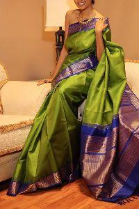 Green Colored Soft Silk Sarees _sd145
