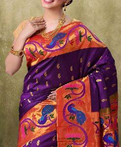 Purple N Orange Colored Soft Silk Saree_sd121