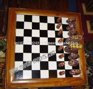 Exclusive Marble Inlay Chess Design Table Top