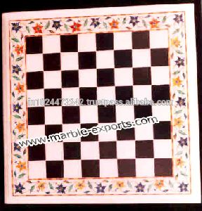 Natural Stone Chess Design Marble Inlay Table Top
