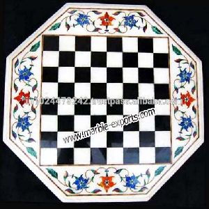 Octagonal White New Chess Design Coffee Table Top