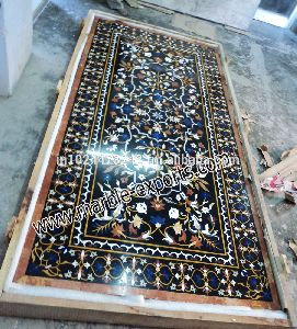 Pietre Dure Marble Inlay Black Dinning Table Top