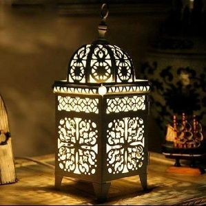 Black powder coated metal lantern