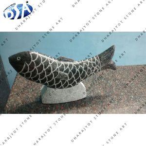 Decorative Black Marble Fish Statue