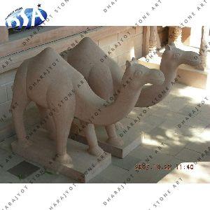 Pink Sandstone Camel Statue
