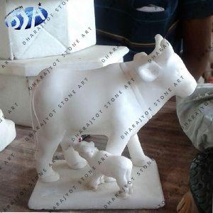 White Sandstone Cow Statue