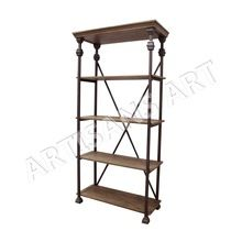 Metal Wood Bookshelf