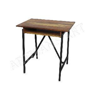 Vintage Industrial Metal Wood School Desk