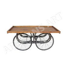 Vintage Wood Iron Rolling Vendor Cart
