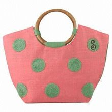 Bamboo Handle Trapezoid Shape Fashion Jute Bags