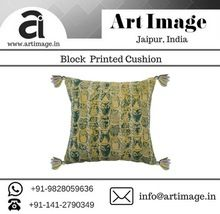 Hand Block Printed Cotton Embroideredcushion Cover