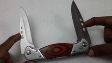 Stainless Steel Double Blade Push Botton Lock Knife/torch
