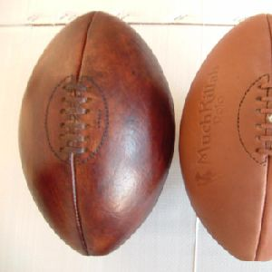 Fully Chromed Leather Antique Finish Memorabilia Rugby Balls
