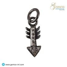Silver Pave Diamond Arrow Charm Pendant
