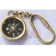 Bras Key Chain With Compass