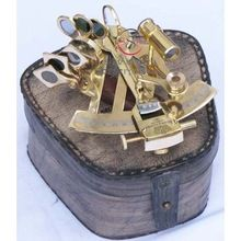 Brass Sextant Leather Case