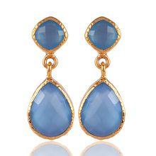 Onyx Gemstone Gold Plated Brass Earring Jewelry