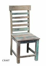 multicolor white wash wooden antique chair
